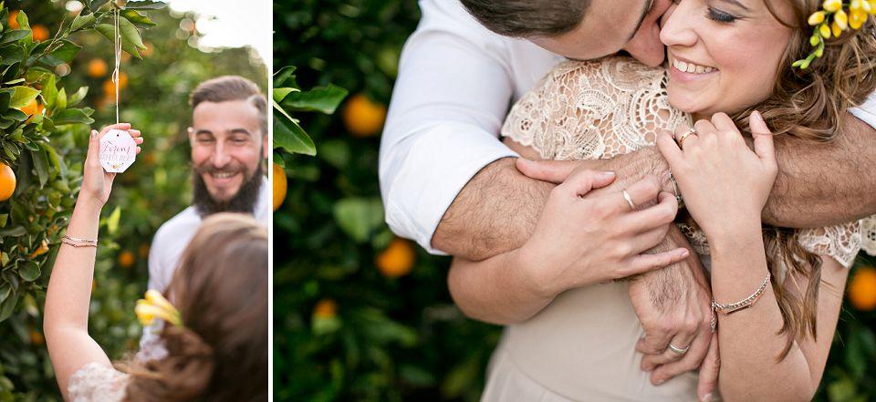 Runaway Romance Orange Orchard Engagement Shoot