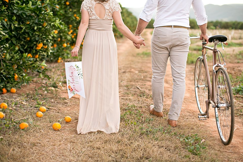 Runaway Romance Orange Orchard Engagement Shoot